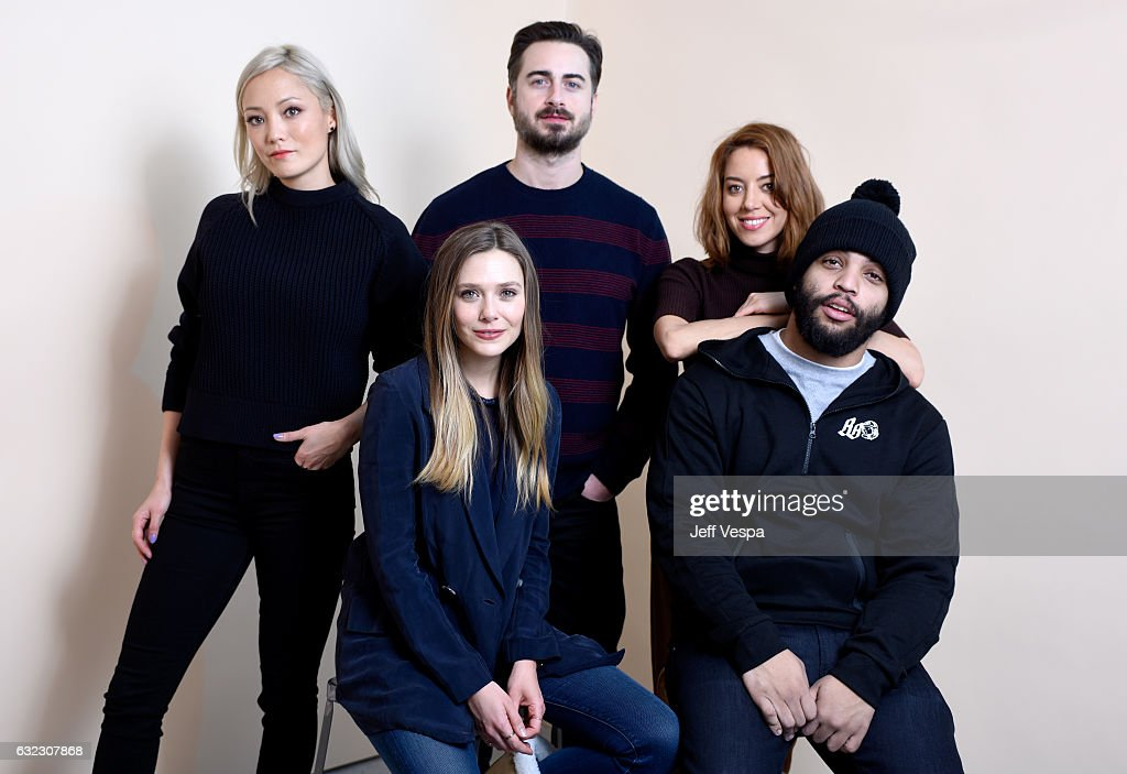 Actors Pom Klementieff, Elizabeth Olsen, filmmaker Matt Spicer and actors Aubrey Plaza and O'Shea Jackson Jr. from the film 'Ingrid Goes West' pose for a portrait in the WireImage Portrait Studio presented by DIRECTV during the 2017 Sundance Film Festival on January 21, 2017 in Park City, Utah.