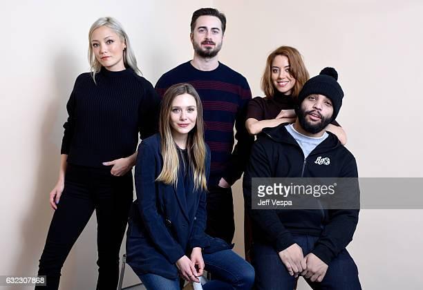 Actors Pom Klementieff Elizabeth Olsen filmmaker Matt Spicer and actors Aubrey Plaza and O'Shea Jackson Jr from the film Ingrid Goes West pose for a...
