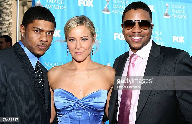 Actors Pooch Hall Brittany Daniel and Hosea Chanchez of 'The Game' arrive at the 38th annual NAACP Image Awards held at the Shrine Auditorium on...