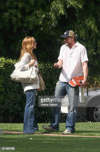 Actors Poppy Montgomery and Mark Blucas sightings in Los Angeles on March 5 2010 in Los Angeles California
