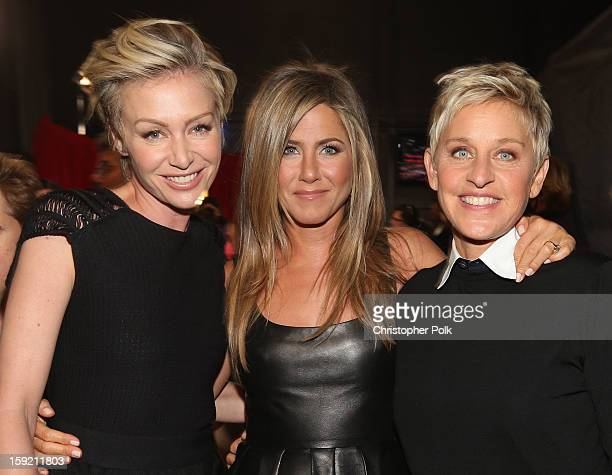 Actors Portia de Rossi and Jennifer Aniston and tv personality Ellen DeGeneres attend the 39th Annual People's Choice Awards at Nokia Theatre LA Live...