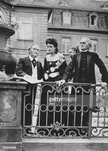 Actors portraying Richard Wagner Cosima Wagner and Franz Liszt in a film made to publicise the Badische Landestheater in Karlsruhe Germany circa 1923