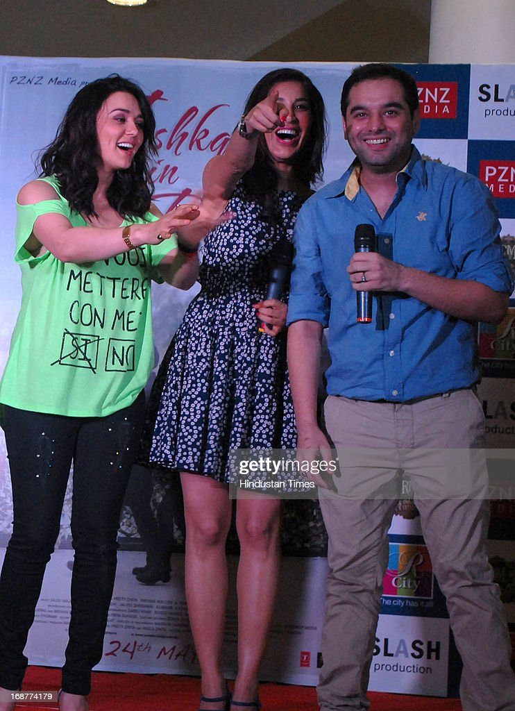 Actors Preity Zinta and Sophie Chaudhary with film directorPrem Raj at promotion of upcoming film Ishq in Paris in R city Mall on May 12 2013 in...