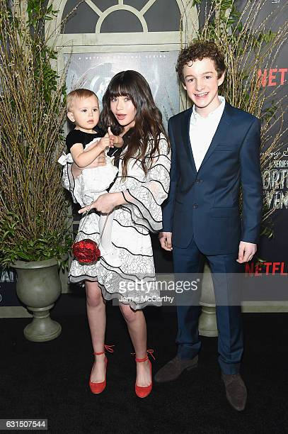 Actors Presley Smith Malina Weissman and Louis Hynes attend the 'Lemony Snicket's A Series Of Unfortunate Events' Screening at AMC Lincoln Square...