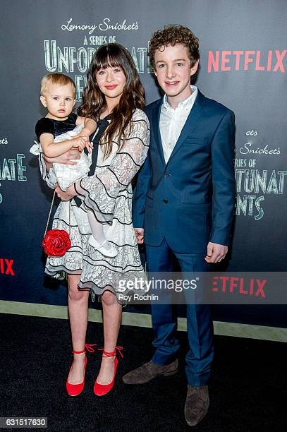 Actors Presley Smith Malina Weissman and Louis Hynes attends 'Lemony Snicket's A Series Of Unfortunate Events' New York Screening at AMC Lincoln...