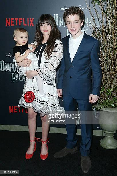 Actors Presley Smith Malina Weissman and Louis Hynes attends NETFLIX Presents the World Premiere of Lemony Snicket's A Series of Unfortunate Events...