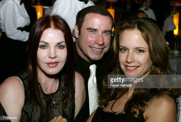Actors Priscilla Presley John Travolta and Kelly Preston pose at the Church of Scientology Celebrity Centre 37th Anniversary Gala on August 5 2006 in...