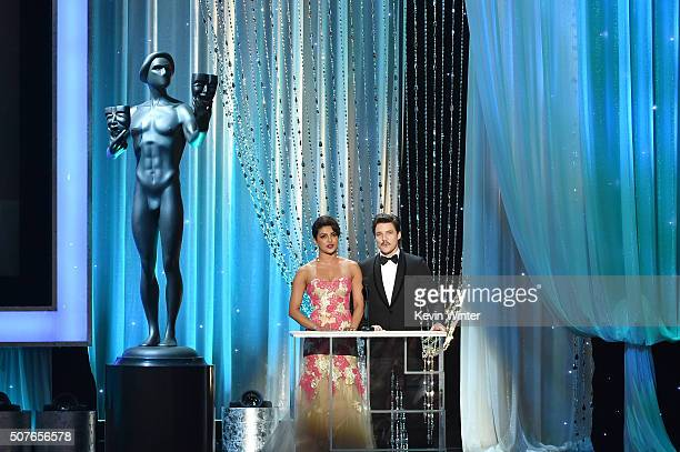 Actors Priyanka Chopra and Pedro Pascal speak onstage during The 22nd Annual Screen Actors Guild Awards at The Shrine Auditorium on January 30 2016...