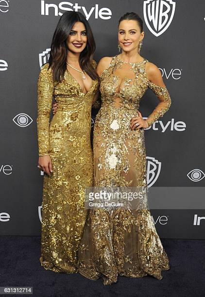 Actors Priyanka Chopra and Sofia Vergara arrive at the 18th Annual PostGolden Globes Party hosted by Warner Bros Pictures and InStyle at The Beverly...