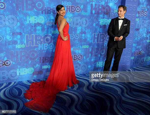 Actors Priyanka Chopra and Tony Goldwyn arrive at HBO's Post Emmy Awards Reception at The Plaza at the Pacific Design Center on September 18 2016 in...