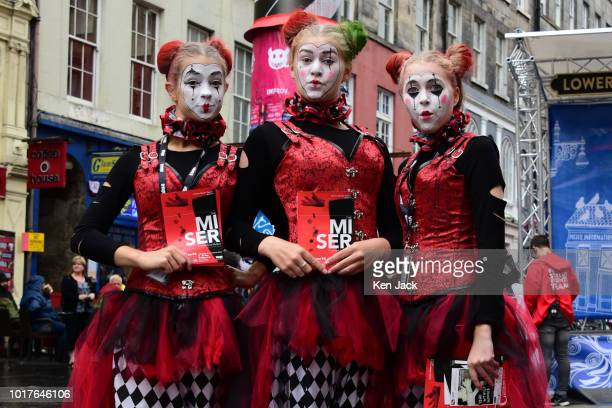 Actors promote a production of Moliere's The Miser on the Royal Mile during the Edinburgh Festival Fringe on August 16 2018 in Edinburgh Scotland