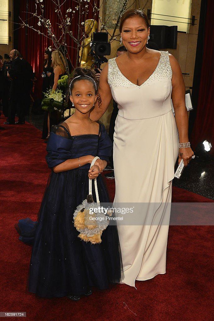 Actors Queen Latifa and Quvenzhane Wallis arrives at the Oscars at Hollywood & Highland Center on February 24, 2013 in Hollywood, California.