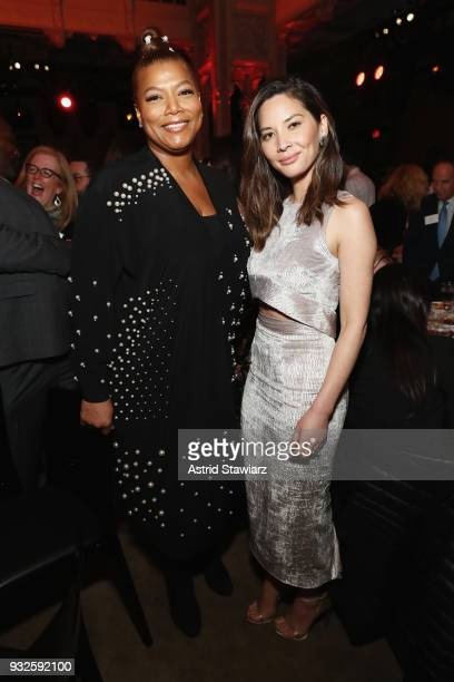 Actors Queen Latifah and Olivia Munn attend the 2018 AE Upfront on March 15 2018 in New York City