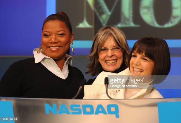 Actors Queen Latifah Diane Keaton and Katie Holmes ring the opening bell at the NASDAQ Times Square on January 16 2007 in New York City