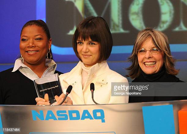 Actors Queen Latifah Katie Holmes and Diane Keaton ring the opening bell at the NASDAQ Times Square on January 16 2007 in New York City