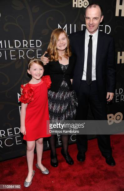Actors Quinn McColgan Morgan Turner and Brían F O'Byrne attend the 'Mildred Pierce' premiere at the Ziegfeld Theatre on March 21 2011 in New York City