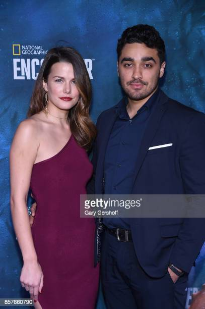 Actors Rachael Emrich and EJ Bonilla attend the National Geographic Encounter Blue Carpet VIP preview celebration on October 4 2017 in New York City