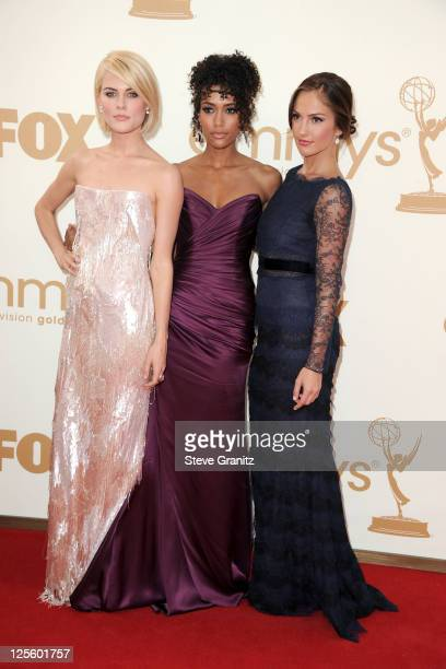 Actors Rachael Taylor Annie Ilonzeh and Minka Kelly arrive to the 63rd Primetime Emmy Awards at the Nokia Theatre LA Live on September 18 2011 in Los...