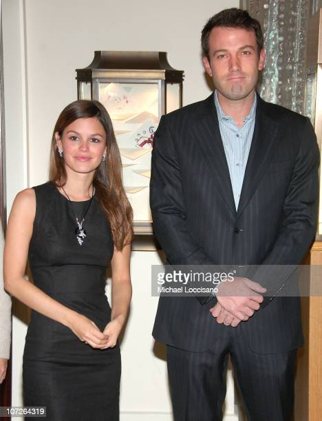 Actors Rachel Bilson and Ben Affleck host Cartier's Holiday Celebration to benefit The Art of Elysium on November 14 2007 at The Cartier Mansion in...