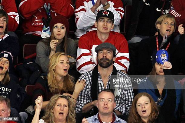 Actors Rachel Bilson Hayden Christensen Jon Hamm and Jennifer Westfeldt attend the ice hockey men's preliminary game between the UNiited States and...