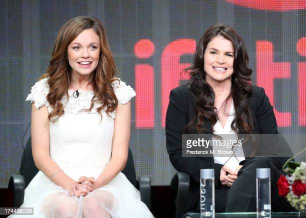 Actors Rachel Boston and Julia Ormond speak onstage during the Witches of East End panel discussion at the Lifetime portion of the 2013 Summer...