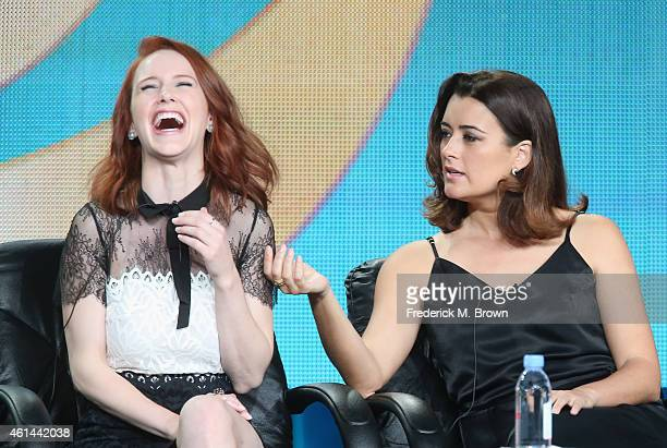 Actors Rachel Brosnahan and Cote de Pablo speak onstage during 'The Dovekeepers ' panel as part of the CBS/Showtime 2015 Winter Television Critics...