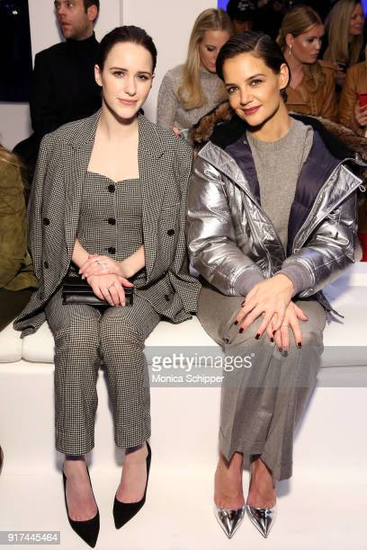 Actors Rachel Brosnahan and Katie Holmes attend the Ralph Lauren fashion show during New York Fashion Week The Shows on February 12 2018 in New York...