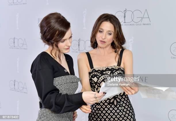 Actors Rachel Brosnahan and Marin Hinkle attend the Costume Designers Guild Awards at The Beverly Hilton Hotel on February 20 2018 in Beverly Hills...