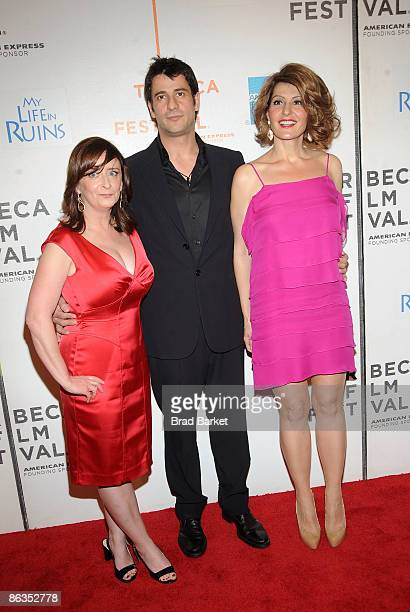 Actors Rachel Dratch Alexis Georgoulis and Nia Vardalos attend the premiere of 'My Life in Ruins' during the 2009 Tribeca Film Festival at BMCC...