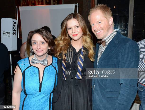 Actors Rachel Dratch Amber Tamblyn and Jesse Tyler Ferguson attend the Tie The Knot Spring Collection launch hosted by Jesse Tyler Ferguson Justin...