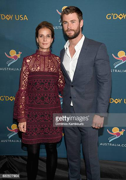 Actors Rachel Griffiths and Chris Hemsworth attend a Virtual Tour of Australia in NYC at Hudson Mercantile on January 23 2017 in New York City