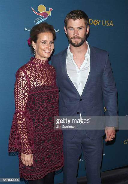Actors Rachel Griffiths and Chris Hemsworth attend a virtual tour of Australia at Hudson Mercantile on January 23 2017 in New York City
