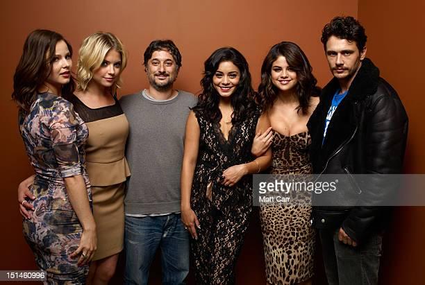 Actors Rachel Korine Ashley Benson Writer/Director Harmony Korine actors Vanessa Hudgens Selena Gomez and James Franco of 'Spring Breakers' poses at...
