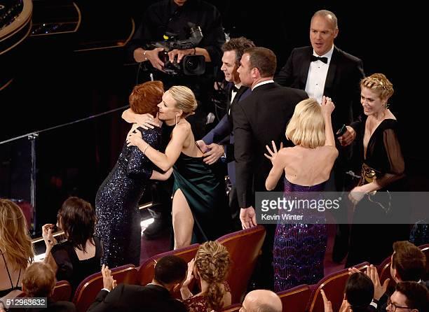 Actors Rachel McAdams Mark Ruffalo Liev Schreiber Michael Keaton and Naomi Watts celebrate 'Spotlight' winning Best Picture during the 88th Annual...