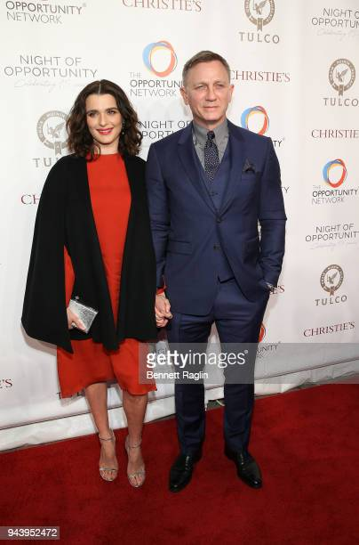 Actors Rachel Weisz and Daniel Craig attend the Opportunity Network's 11th Annual Night of Opportunity at Cipriani Wall Street on April 9 2018 in New...