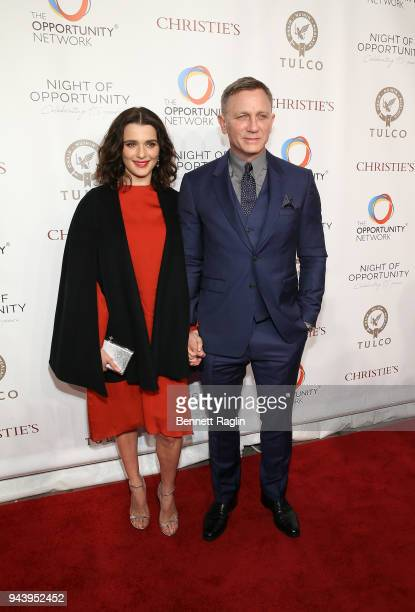 Actors Rachel Weisz and Daniel Craig attends the Opportunity Network's 11th Annual Night of Opportunity at Cipriani Wall Street on April 9 2018 in...