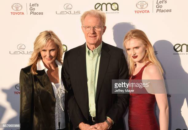 Actors Rachelle Carson Ed Begley Jr and Hayden Carson Begley arrive at the 27th Annual EMA Awards at Barker Hangar on September 23 2017 in Santa...
