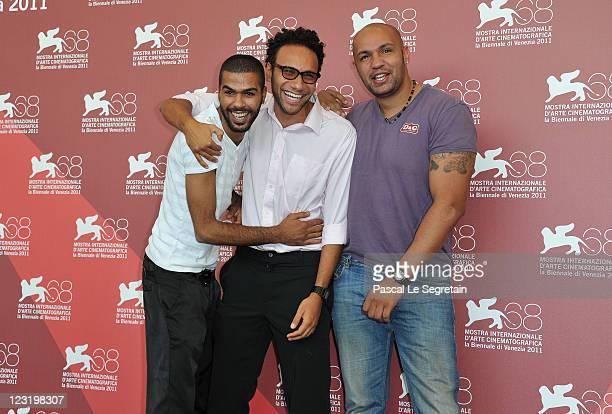 Actors Rachid Debbouze Yassine Azzouz and Kamel Laadaili attend La Desintegration photocall during the 68th Venice Film Festival at Palazzo del...