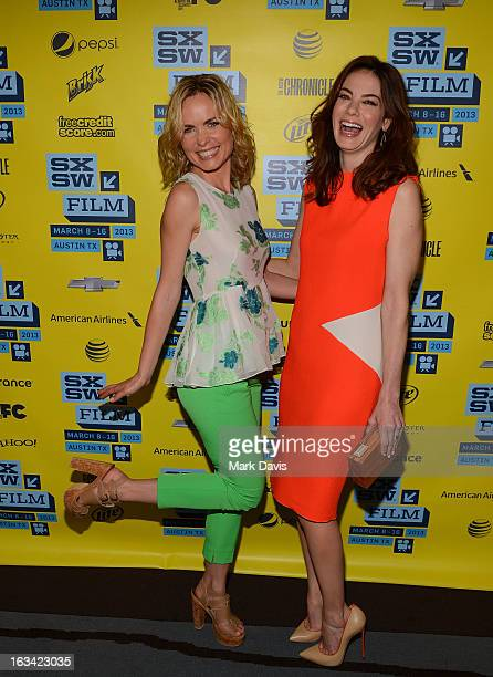 Actors Radha Mitchell and Michelle Monaghan attend the 'Gus' red carpet arrivals at the 2013 SXSW Music Film Interactive Festival held at the Topfer...