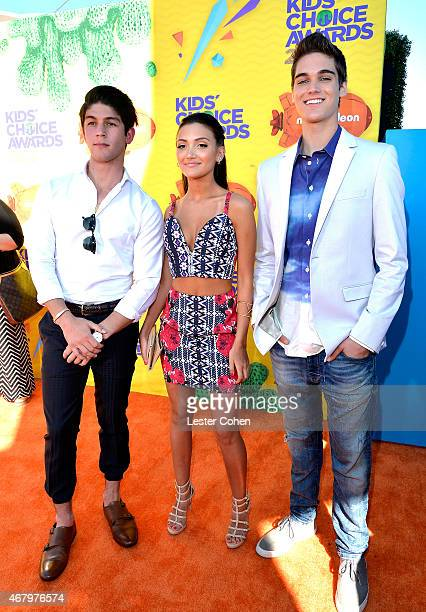Actors Rahart Adams Daniela Nieves and Nick Merico of Every Witch Way attend Nickelodeon's 28th Annual Kids' Choice Awards held at The Forum on March...