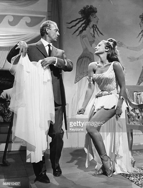 Actors Raimondo Vianello and Liana Orfei on the set of the film 'Hercules in the Valley of Woe' Rome circa 1961