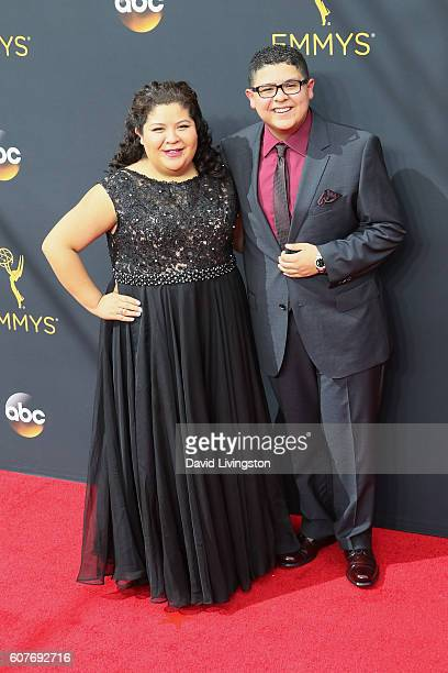 Actors Raini Rodriguez and Rico Rodriguez arrive at the 68th Annual Primetime Emmy Awards at the Microsoft Theater on September 18 2016 in Los...