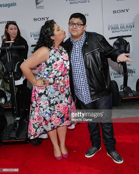 Actors Raini Rodriguez and Rico Rodriguez arrive for the 'Paul Blart Mall Cop 2' New York Premiere at AMC Loews Lincoln Square on April 11 2015 in...