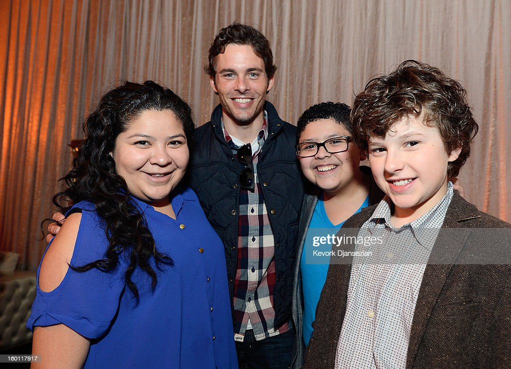 Actors Raini Rodriguez (L) James Marsden (2nd L) Rico Rodriguez and Nolan Gould (R) (C) in the green room during the 19th Annual Screen Actors Guild Awards red carpet roll out and presenter rehearsals at The Shrine Auditorium on January 26, 2013 in Los Angeles, California.