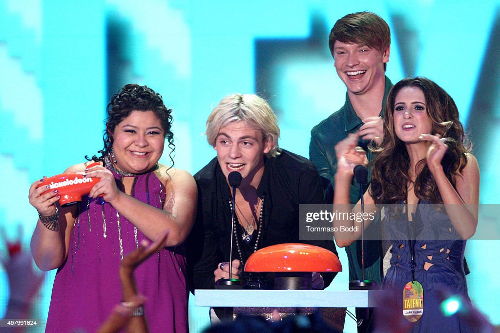 Actors Raini Rodriguez, Ross Lynch, Calum Worthy and Laura Marano accept award for Favorite Kids TV Show for 'Austin & Ally' onstage during the Nickelodeon's 28th Annual Kids' Choice Awards held at The Forum on March 28, 2015 in Inglewood, California.
