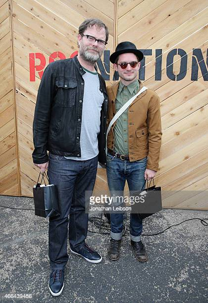 Actors Rainn Wilson and Elijah Wood attend the Roc Nation and Live Nation Raptor House for AOL BUILD on March 15 2015 in Austin Texas