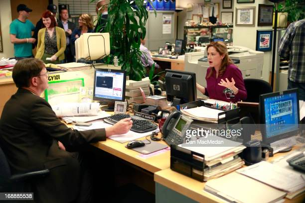 Actors Rainn Wilson and Jenna Fischer are photographed for USA Today on the set of 'The Office' on February 5 2013 in Van Nuys California