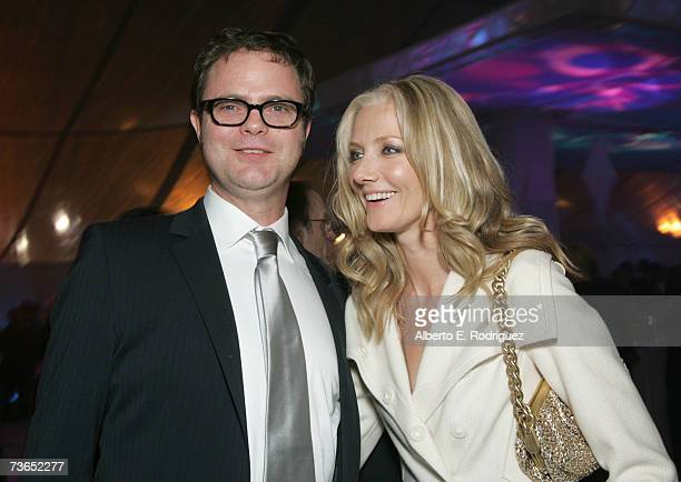 Actors Rainn Wilson and Joely Richardson attend the after party for the premiere of New Line's The Last Mimzy held at the The Mann Village Theatre on...