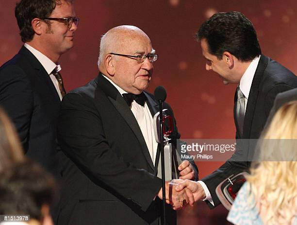 Actors Rainn Wilson Ed Asner and Steve Carell onstage during the 6th annual TV Land Awards held at Barker Hangar on June 8 2008 in Santa Monica...