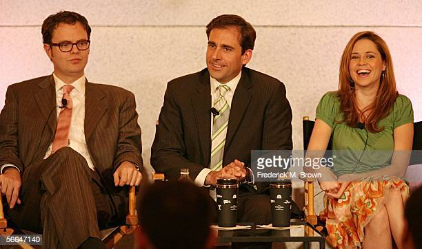 """Actors Rainn Wilson, Steve Carell and Jenna Fischer of """"The Office"""" speak during the NBC executive question and answer segment of the Television..."""
